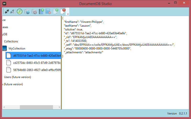 Screen Shot of DocumentDB Studio